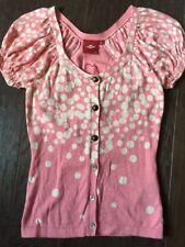 "Anthropology Oilily Pink Polka Dot button Front ""Button"" Cardigan Sweater  XXS"