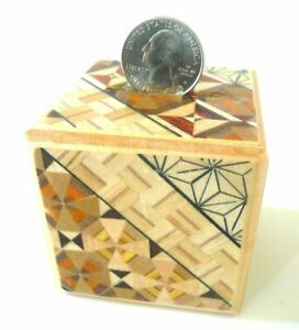 Japanese Yosegi Puzzle Box Wooden Secret Magic Coin Saving Bank Trick Box HK-035