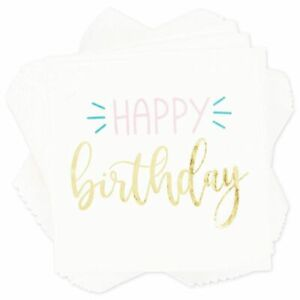 50 Pack HAPPY Birthday White with Gold Foil Napkins for Party, 5 x 5 inch, 3 Ply