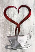"Steamed with Love Coffee Metal Wall Decor- Ruby Tainted  9 3/4"" x 6 1/2"""