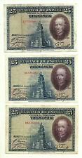 LOTE DE 3 BILLETES DE 25 PESETAS DE 1928
