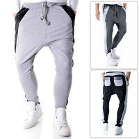 Mens Baggy Jog Pants Swag Quilted Eco Leather Black Grey Street Wear Cotton Gym