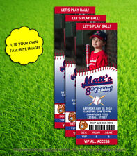 Baseball Party Custom Photo Ticket 10 Printed Birthday Invitations and Envelopes