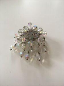 1950's Aurora Borealis Crystal Drop Brooch