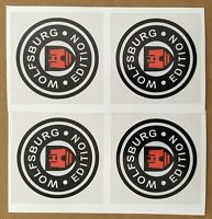 WOLFSBURG Edition Wheel Caps Stickers 50mm T2 VW T25 Golf Etc x 4