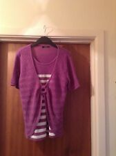 Mauve and White Stripe Jumper with Attached Cardigan