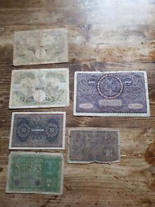 Lot de billets banque ancien Pologne, Allemagne, Madagascar (6 billets) 1918