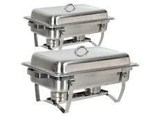 Lot 2~8 Quart Stainless Steel Rectangular Chafing Dish Full Size Buffet Catering