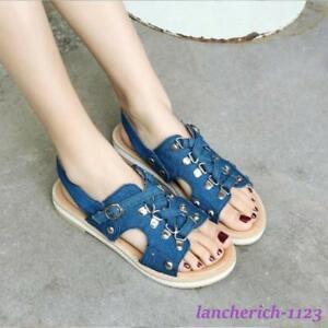 Women's Denim Ankle Strap Sandals Slingback Rivet Shoes Punk Summer Sweet Casual