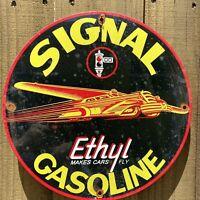 VINTAGE SIGNAL ETHYL GASOLINE PORCELAIN METAL SIGN FLY GAS STATION PETROLIANA US