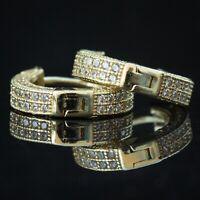 Men Small 14k Gold 925 Sterling Silver Bling Fully Iced CZ Huggie Hoop Earrings