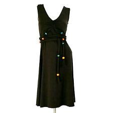 Moda International Womens Dress XS Brown Sleeveless A-Line Wood Beads Tie-Waist