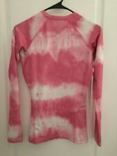 Women's Nike Pro Stretch Pullover Activewear Top, Thumb Holes Pink & White XS