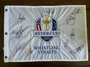 2021 RYDER CUP Signed Flag Steve Stricker Padrig Harrington Bryson DeChambeau