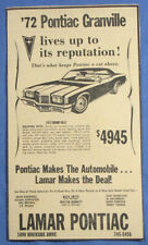 Vintage 1972 Pontiac Grandville Grand Ville Sedan Car Newspaper Print Ad