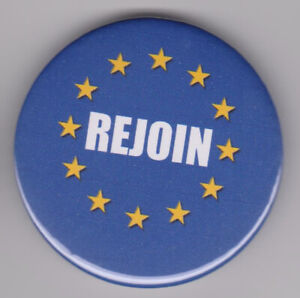 Rejoin! Anti-Brexit protest badge - Pro-EU pin supporting UK in European Union