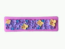 3D frontera Flores Hortensia Adorno De Silicona Molde Pastel Boda Fondant Chocolate