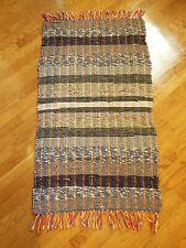 Vintage Multicolor W/ Grays Blues Brns Hand Loomed Cotton Blends Rag Rug Aa4