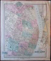 Saint Louis Missouri city plan c.1879 lithographed antique map