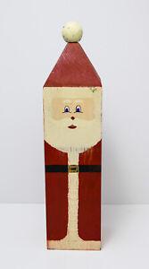 "1991 Wolf Creek Wooden Folk Art Square Santa Claus 14-1/2"". Signed"