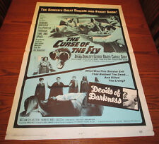 1967 CURSE OF THE FLY / DEVILS OF DARKNESS One-Sheet Movie Poster VG+