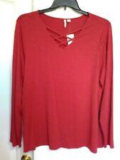 nwt rich red top tunic shirt gold thread crisscross front XL cato jm sportswear