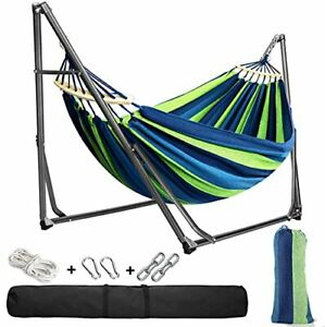 Hammock with Stand and Tree Straps, Easy to Assemble Cotton Fabric Kid Indoor