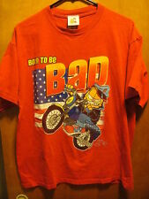 GARFIELD & ODIE ~ Large ~ Vintage ~ Born to Be BAD ~ Motrocycle Cat ~ T Shirt