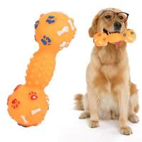 Colorful Dotted Dumbbell Shaped Squeeze Squeaky Faux Bone Pet Dog Toys