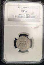 1867 Shield Nickel w/Rays AU 53 NGC (C9670)