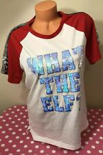 """Victorias Secret PINK NWT BLING """"WHAT THE ELF"""" Holiday Short Sleeve T-shirt XS"""