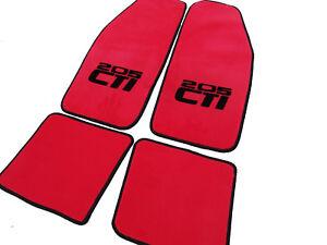 Floor mats for Peugeot 205 CTi red velours 1984-1998 black