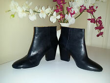 Nine West Darsy Womens Black Soft Leather Ankle Boots  Wide High Heel Sz. 10M