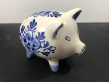 Vintage Delft Blue Hand Painted Windmill & Flowers Piggy Bank Without Stopper