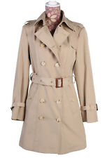 Burberry Vintage Women's Double Breasted Trench Coat Overcoat Beige Size 10