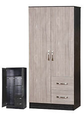 2 Door Wardrobe | With 2 Drawers Combi | Grey Oak Gloss & Ash Black Carcass