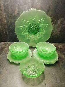 Art Deco Green Frosted Glass Desert Serving Plates Bowl Set