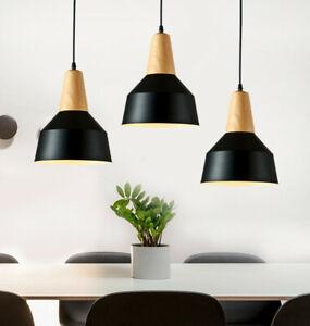 3pcs Modern Black Pendant Light Wood Ceiling Lamp Bar Coffee Kitchen Chandelier