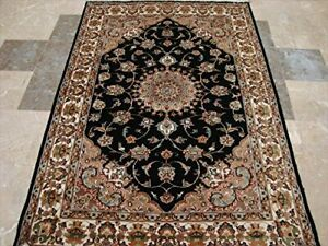 Wow Black Beauty Floral Oriental Hand Knotted Rug Wool Silk Carpet (6 x 4)'