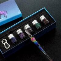 Glass Fountain Ink Pen Set Vintage Dip Pen Filling Stationery Student Ink P K8R2
