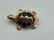 Small Vintage Turtle Tortoise Pin Brooch Gold Tone Red Green Blue Figural K5