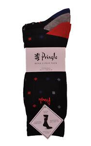 Mens Pringle 3 Pack Socks Enzo Black L7025