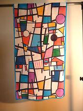 Crepe de chine long silk scarf Print of Mondrian geometric multicoloured   NEW