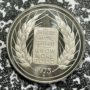 1973 India 10 Rupees Lot#PJ12 Large Silver Coin! Proof!