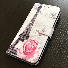 For iPhone 7+ PLUS - Paris Eiffel Tower Flowers Credit Card ID Wallet Pouch Case