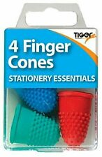 4 FINGER CONES Thimblettes Rubber Thimble Coloured Page Turning Stationery Work