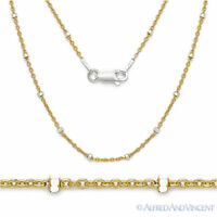 925 Sterling Silver 14k Yellow Gold-Plated 1.9mm Bead 1.3mm Cable Chain Necklace