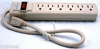 Surge Protector 6 Outlet Power Strip Heavy Duty UL Listed 15 Amp Circuit Breaker