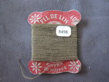 R498 Mercerie vintage ancienne carte FIL DE LIN N°40 beige foncé Thread Card