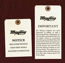Maytag Gas Engine Model 92 72 82 Upright Shipping Tag Motor Washer Hit & Miss